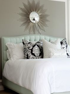 Beautiful master bedroom design with soft gray brown walls paint color, silver sunburst mirror, blue tufted headboard bed, white damask pillows, silver metallic lumbar pillow and hot pink round faux croc mirrored tray. Master Bedroom Design, Home Bedroom, Bedroom Decor, Bedroom Photos, Master Bedrooms, Peaceful Bedroom, Bedroom Ideas, Bedroom Inspo, Bedroom Colors
