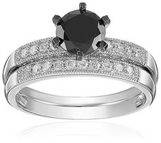 #blackdiamondgem10k White Gold Black and White Diamond Engagement Ring (1.33 Cttw, G-H Color, I2-I3 Clarity), Size 8by Amazon Collection