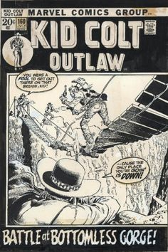 """John Severin was a master of Western comic art and of humor. And I have to imagine that this image reflects a combination of both: With a title like """"Bottomless Gorge"""" and a focus on Kid Colt's butt, the composition can't have been an accident!"""