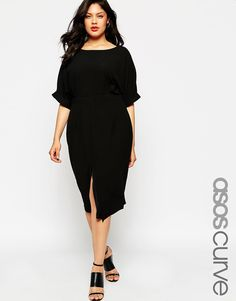 ASOS CURVE Plain Wiggle Cut Out Back Dress (also available in ivory)