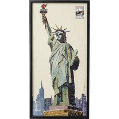Empire Art Direct Lady Liberty Dimensional Collage Framed Graphic Art Under Glass Wall Art, 25 inch x 48 inch x inch, Ready to Hang, Size: x Collage Frames, Frames On Wall, Framed Wall Art, Collage Art, Wall Art Decor, Symbols Of Freedom, Shadow Box Frames, Glass Wall Art, Black Wood
