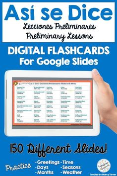 Flashcards are a perfect way to help kids learn Spanish! These digital and paperless flash cards help kids learn or practice the Spanish words from the Preliminary Chapters of Así Se Dice 1. Great for middle school through high school - anyone who wants to practice Spanish greetings, days, months, seasons, weather, time, and more! #spanishflashcards #digitalflashcards #distancelearning #elearning Learning Spanish For Kids, Spanish Teaching Resources, Homeschooling Resources, Learn Spanish, Fun Learning, Teacher Resources, Spanish Lesson Plans, Spanish Lessons, Spanish Language