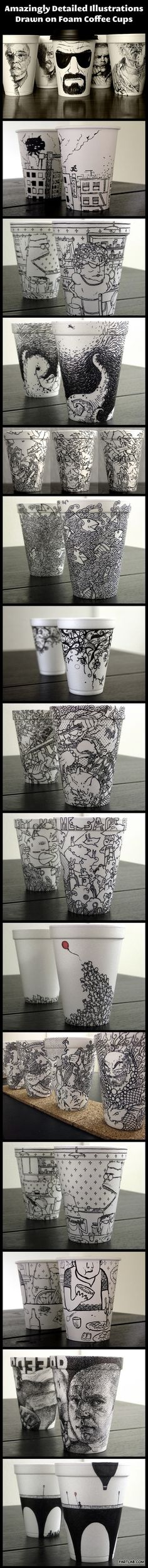 Awesome foam coffee cup designs. i like it because it is so cool, it has some natural design. it would give me some idea about cup design for maze cafe