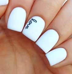 An amazing idea would be to have the name of your husband on your ring finger when you are getting married. He will see it when placing the ring on your finger.love these nails Gorgeous Nails, Love Nails, How To Do Nails, Fun Nails, Dream Nails, Color Nails, Perfect Nails, Valentine Nail Art, Nails For Valentines Day