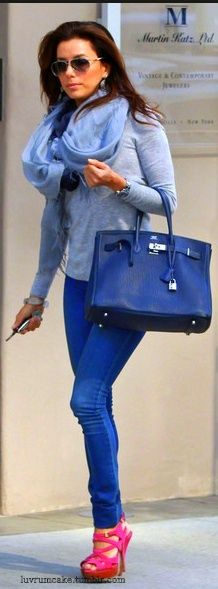 Eva Longoria . I wouldnt have thought bright pink shoes with this blue... but I like it