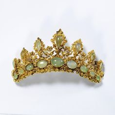 The Chrysoprase Tiara, English, 1825-1835--given by Dame Joan Evans, now in the Victoria and Albert Museum