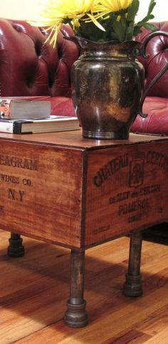 Upcycled wine crate coffee table - A Interior Design Pipe Furniture, Repurposed Furniture, Crate Furniture, Wine Crate Coffee Table, Coffee Table With Wheels, Old Crates, Wine Crates, Wine Boxes, Casa Retro