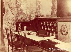 This 1896 photo of the great poet and habitual absintheur Paul Verlaine shows this melancholic figure in the last year of his life with his ever-present glass of absinthe seated in a café. The location is believed to be the Café François Ier. #paris #absinth #belle epoque