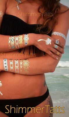 Best metallic tattoos by ShimmerTatts. SAVE 10% now with coupon code PIN10 on www.ShimmerTatts.com today! Just CLICK pic! #metallictattoo #goldtattoo #boho