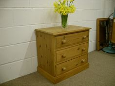SMALL SOLID PINE CHEST OF DRAWERS QUALITY PINE - W 70 - D 43 - H 66 CM - £89 http://www.drabtofabfurniture.co.uk/
