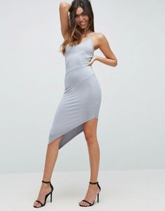 ASOS NIGHT Slinky Strappy Midi Dress With Asymmetric Hem & Seam Detail. | dresslover.co.uk