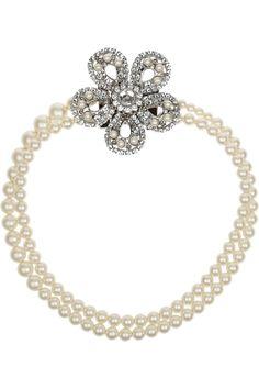 Miu Miu|Silver-plated, Swarovski pearl and crystal necklace