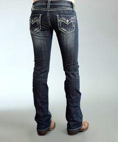 Loving this Dark Wash Arrow Flap Bootcut Jeans - Women on #zulily! #zulilyfinds