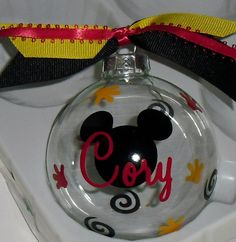 Personalized Mickey Mouse Christmas Ornament. $9.00, via Etsy.