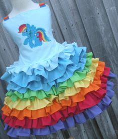 Custom Boutique Rainbow Dash 2 Piece Set Ruffled skirt Girl 2 3 4 5 6 7 8