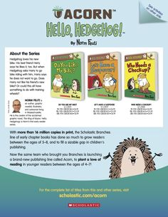 Get information about the Acorn series Hello Hedgehog by Norm Feuti for beginning readers and do some fun drawing and writing activities! Reading Resources, Writing Activities, Early Readers, Acorn, Cool Drawings, Lesson Plans, Hedgehog, Friendship, Comics