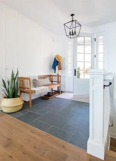 Entryway Tile Floor, Entry Tile, Entryway Flooring, Slate Flooring, Kitchen Flooring, Entryway Decor, Open Entryway, Cottage Entryway, Slate Tiles
