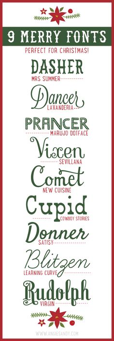 9 Merry Fonts for Christmas — Angie Sandy Design  Illustration