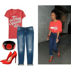 Inspired Leigh-Anne by imkatherineb on Polyvore featuring moda, Aéropostale, Rebecca Minkoff, Christian Louboutin and First People First