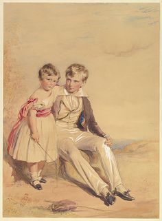 Portrait of Two Children  George Richmond (British, Brompton 1809–1896 London)  Date: 1837 Medium: Watercolor and gouache with touches of gum and gold, on yellow paper Dimensions: sheet: 22 7/8 x 16 5/8 in. (58.1 x 42.2 cm) Classification: Drawings Credit Line: Gift of Alexander B.V. Johnson and Roberta J.M. Olson, 2010 Accession Number: 2010.493.2