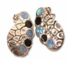 Signed Sterling Silver Black & Blue Opal Wing Design Earrings*925*X161
