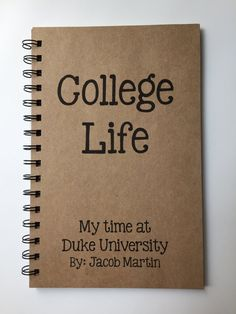 College Life, Leaving for College, Gift, College Notebook, College Journal, Notebook, Journal, Dorm Room, College, Personalized,
