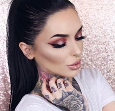 #makeup #bellejorden #tattoos #beautiful #higjlight #nudelip #wingedeye #brows