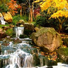 London, Holland Park  The colours of Autumn painting the waterfall at the Japanese Garden in the beautiful Holland Park …  London is Calling !