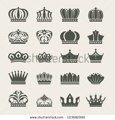 stock vector : Set of crown icons