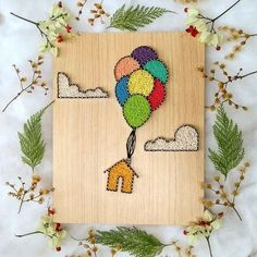 Embroidery On Paper String art - up - balões - String Art Templates, String Art Tutorials, String Art Patterns, String Wall Art, Nail String Art, String Art Balloons, Fun Crafts, Diy And Crafts, Arts And Crafts
