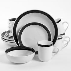 Gibson Home Basic Living Iii 16 Piece Dinnerware Set Black