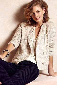 Love that it has softened edges --- Cropped Woolly Jacket #anthropologie