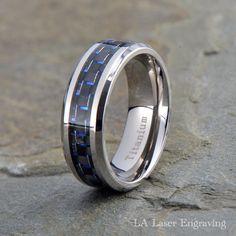 Brilliant Bijou Titanium Polished Grey Carbon Fiber Inlay 6mm Band