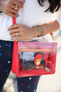 20 Looks with Clear Bags glamhere.com Marc by Marc Jacobs Clearly Top Handle Shoulder Bag