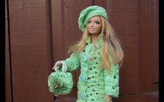 Свяжем берет и сумочку для Барби. Knit beret and purse for Barbie.