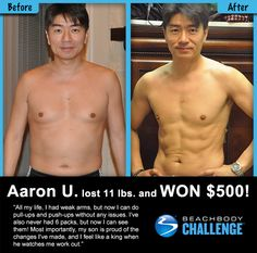 ::09/21/13:: Check out Aaron's results from 90 DAYS of #P90X! He lost 11 lbs., and got ripped abs, but what he gained in terms of pride and confidence is the real prize - truly immeasurable. #BeachbodyChallenge REPIN and LIKE to congratulate him!