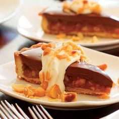 A caramely, nutty tart makes any holiday that much sweeter. Make sure the caramel is set completely before you pour the chocolate filling over it.