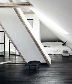 Attic minimalist bedroom