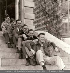 Six unidentified fraternity members sitting in a row (ca. 1945)