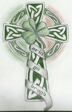 Celtic cross and shamrock. Erin Go Bragh! This may be my next tatoo! Celtic Symbols, Celtic Art, Celtic Knots, Celtic Crosses, Tattoo Deus, Celtic Cross Tattoos, Celtic Knot Tattoo, Shamrock Tattoos, Clover Tattoos