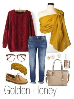 Golden Honey by myheartcreative on Polyvore featuring Sperry, MICHAEL Michael Kors, Stella & Dot, Victoria Beckham and Essie