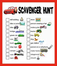 """""""Car"""" Scavenger Hunt"""