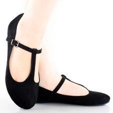 Black Suede T Strap Mary Jane Buckle Women Ballet Comfortable Flats Shoes 7.5