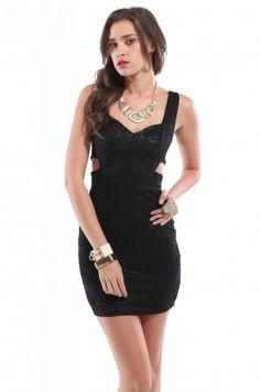 Sleeveless Lace Cutout Dress in Black | Mini Dress | ShopAKIRA.com