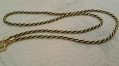 """Vintage gold and black rope chain necklace. 24"""""""