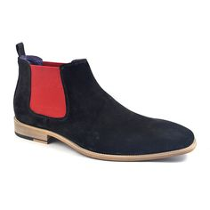 Shop mens black and red suede chelsea boots to brighten your wardrobe. Cool black red suede chelsea boots add zest and only £99.95. Free delivery.