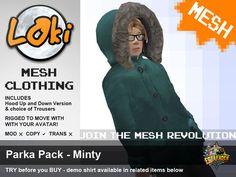 Second Life Marketplace - Loki Mesh Parka Pack - Minty (BOXED)