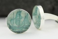 Canadian Cufflinks for men - Genuine Upcycled Vintage Postage Cufflinks  - Canada - Handmade NewfoundlandCuff Links. $49.00, via Etsy.