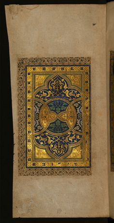 Left side of a double-page illuminated frontispiece from the Walters manuscript (W.559) is comprised of two rectangles surrounded by a trefoil border in grisaille. The inner border is gold strapwork with blue squares. The central area is an intricate design of geometric forms and arabesques in blue, black, gold, and green. Inscribed by Mubarakshah ibn Qutb in AD1323, Ilkhanid, Iran.