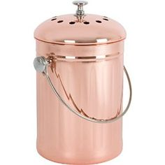 Buy Vesta Copper-Plated Stainless Steel Kitchen Compost Bin with Two Odor-Absorbing Filters – 1 Gallon – Premium Copper Countertop Container for Indoor Use and Gardening Copper Kitchen, Stainless Steel Kitchen, Kitchen Dining, Kitchen Compost Bin, Air Purifier, Kitchen Countertops, Crock, Walmart